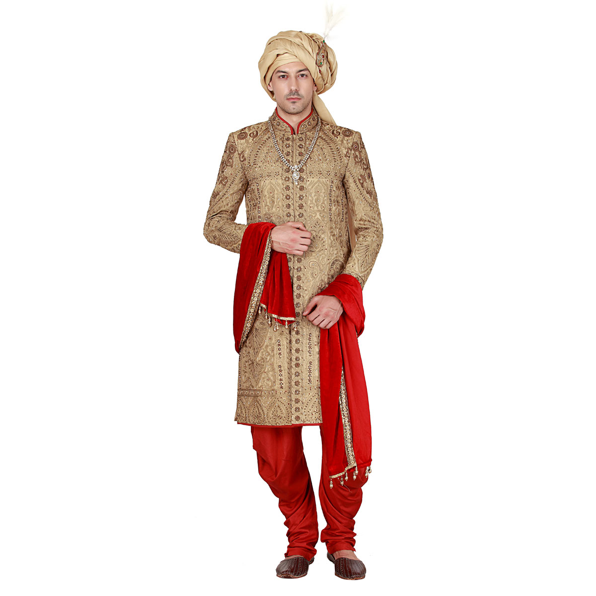 Wonder Red & Gold Sherwani - Premium Bespoke Suits Online. Men's