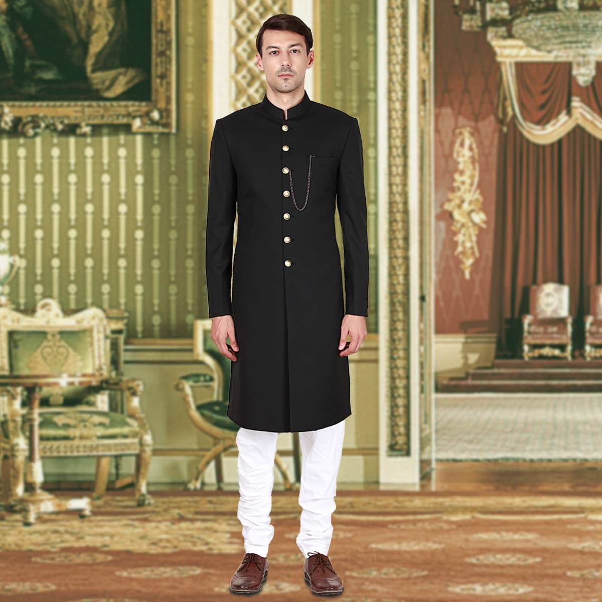 Royal Black Sherwani - Premium Bespoke Suits Online. Men's ...